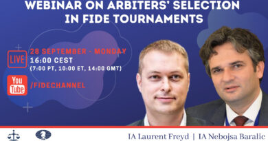 Coming soon! Webinar on Arbiters' selection in FIDE Tournaments