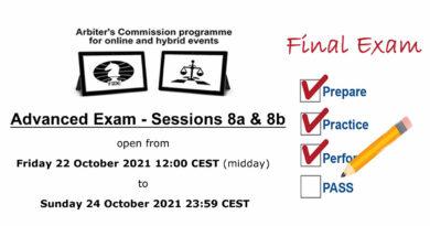 Online/Hybrid Arbiters Training – Advanced Exam – October 2021
